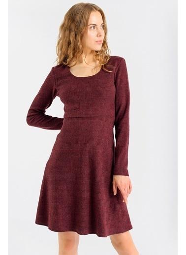 Jument Kadın Ekose Desenli Kışlık Eteği Kiloş Diz Boy Elbise-Antrasit Bordo